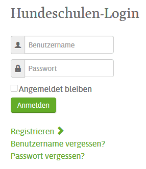 hundeschulen login screen